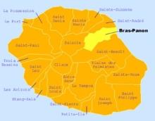 Carte de la commune de Bras-Panon La Réunion.