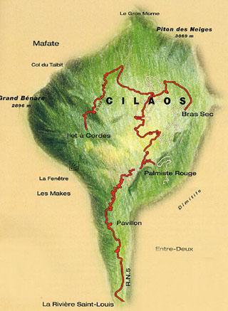 Carte de la route de Cilaos île de La Réunion.