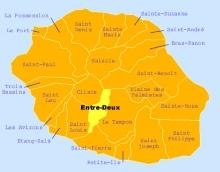Carte de la commune de l'Entre-Deux La Réunion