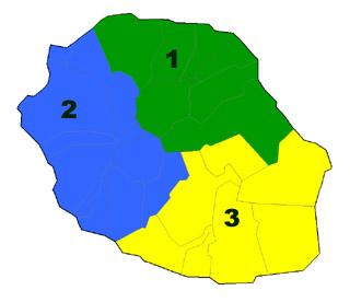 Carte des circonscriptions électorales 1958 La Réunion