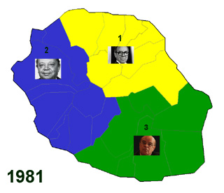 Carte des trois circonscriptions de La Réunion 1981