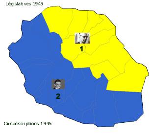 Carte des deux circonscriptions de La Réunion en 1945