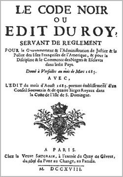 Code noir Ordonnance de 1685