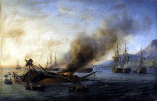Combat naval entre une division française et anglaise en vue de l'île de la Réunion, 24 août 1810
