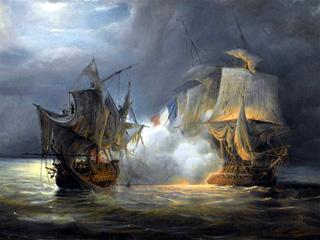 Combat naval en 1810 au large de Saint-Denis
