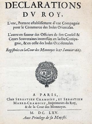 Déclaration du Roi Louis XIV pour l'établissement de La Compagnie des Indes Orientales