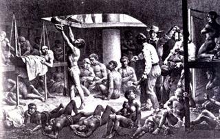 Esclaves dans les cales d'un navire