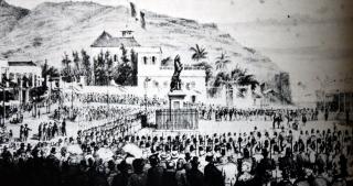 Inauguration en 1856 de la Statue du gouverneur Mahé de La Bourdonnais.