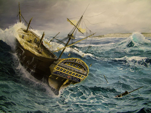 Navire dans un cyclone