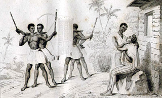 Palenquin et Barbier à Bourbon gravure de 1843