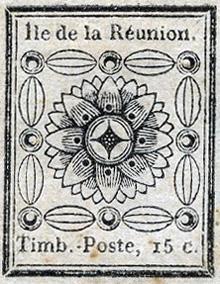 Timbre 1852 La Réunion valeur 15 centimes de franc colonial