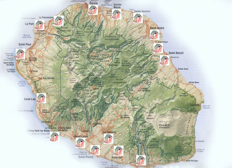 Carte des agences immobili res de la r union for Locations agences immobilieres