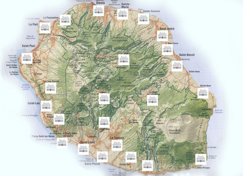 Carte des Musées de La Réunion
