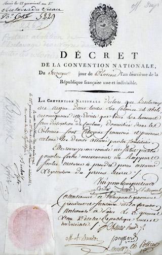 Décret Abolition de l'esclavage du 4 février 1794