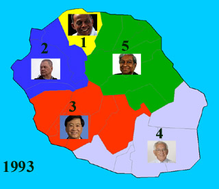 Carte des cinq circonscriptions de La Réunion 1993