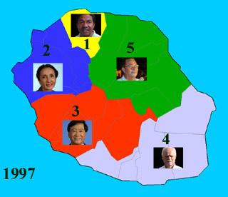 Carte des cinq circonscriptions de La Réunion 1997