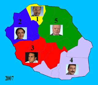 Carte des cinq circonscriptions de La Réunion 2007