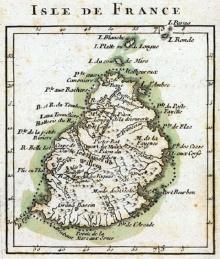 Carte de l'Isle de France (Ile Maurice) par Rigobert Bonne en 1791