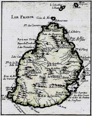 Carte de l'île de France ( Maurice )