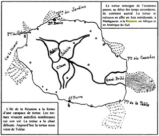 Carte de La Réunion en forme de tortue de Paul Hermann