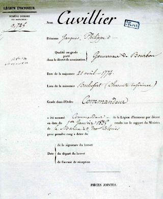 Jacques Philippe Cuvillier Commandeur de la Légion d'honneur