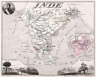 Carte des établissements Français de l'Inde