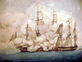 Combat et abordage de la frégate française La Minerve capitaine collet contre la frégate anglaise La Pallas de Lord Cochrane.