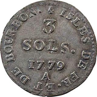 Pièce de 3 sols 1779, Bourbon et île de France