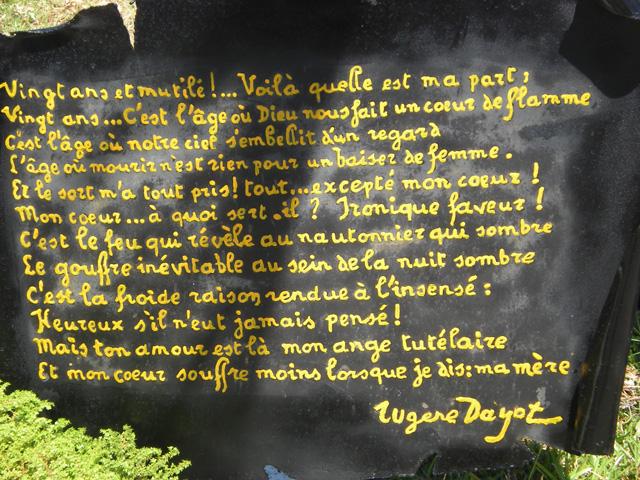 Épitaphe tombe Eugène Dayot