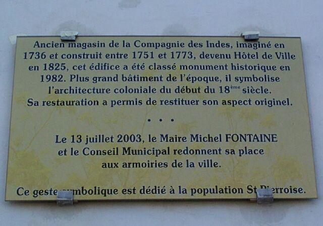 Plaque hôtel de ville de Saint-Pierre La Réunion