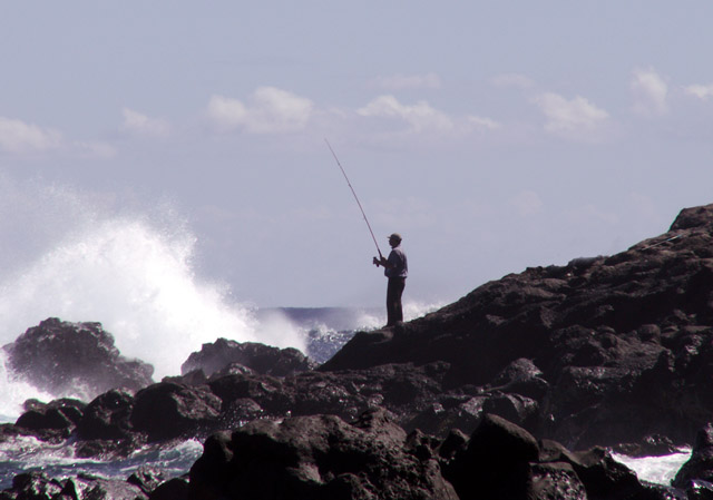 Pécheur à l'Etang-Salé La Réunion