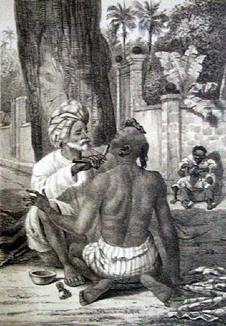 Le barbier Indien. Album de La Réunion. Antoine Roussin.