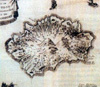 Carte de Flacourt de l'île Bourbon publiée en 1661