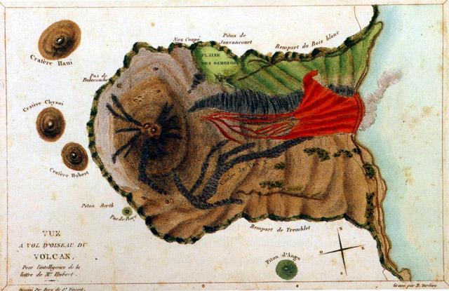 Volcan, Piton de La Fournaise dessin de Bory de Saint-Vincent