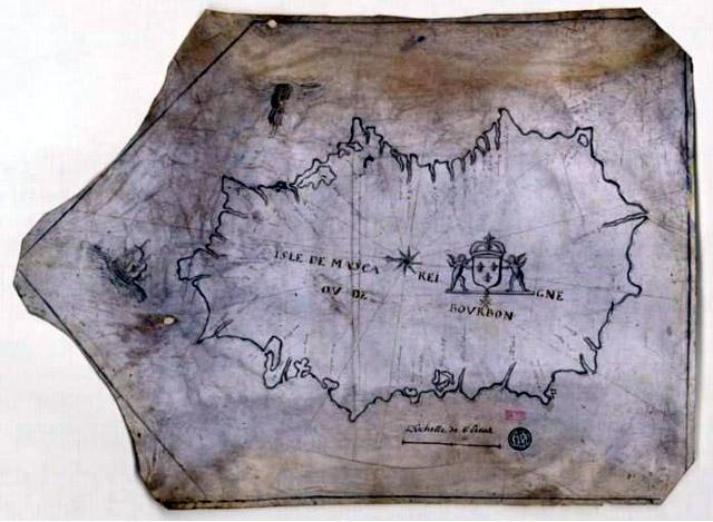 Carte de l'île Bourbon dans les années 1600 - 1700