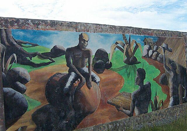 Fresques sur le mur du cimetière des âmes perdues Saint-Louis.