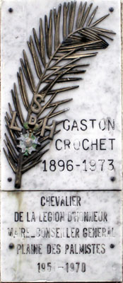 Gaston Crochet Plaque sur sa tombe