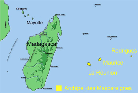Carte archipel des Mascareignes.