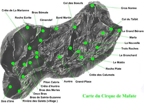 Carte du Cirque de Mafate à l'île de La Réunion