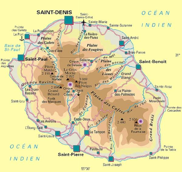 Populaire Carte île de La Réunion Carte réunion. FC38