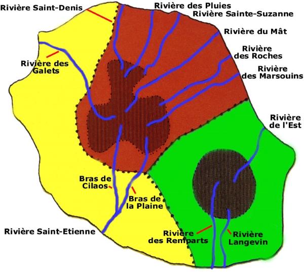 Carte des rivière de l'île de la réunion