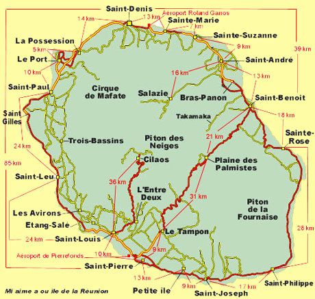 carte geographique de la reunion