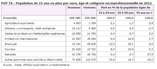 Population catégorie socioprofessionnelle de La Réunion.