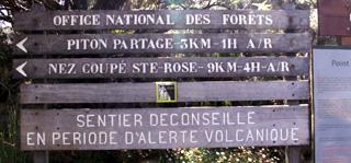 Panneau ONF randonnée Nez coupé de Sainte-Rose La Réunion