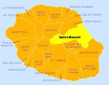 Carte de la commune de Saint-Benoît La Réunion.