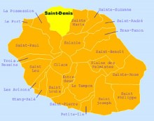 Carte de la commune de Saint-Denis La Réunion