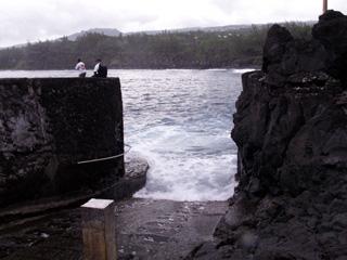 Marine Langevin, débarcadère taillé dans le basalte