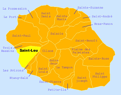 Carte de la commune de Saint-Leu La Réunion