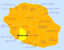Carte de la commune de Saint-Louis La Réunion.
