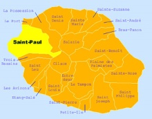 Carte de la commune de Saint-Paul La Réunion.